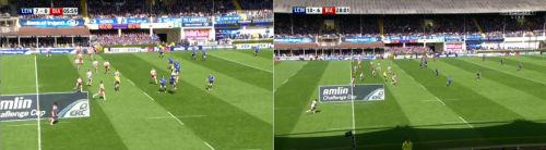 Biarritz looked to target Madigan with short drop-offs. On the left, Traille gets above Madigan. On the right, Rob Kearney recognised the tactic and arrives to rescue the situation.